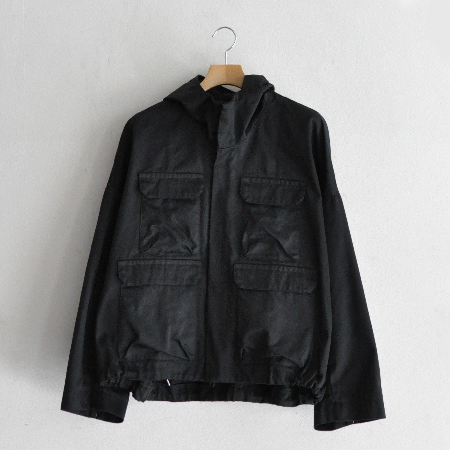 WEST-POINT TWILL FRONT POCKET HOODIE [BLACK]