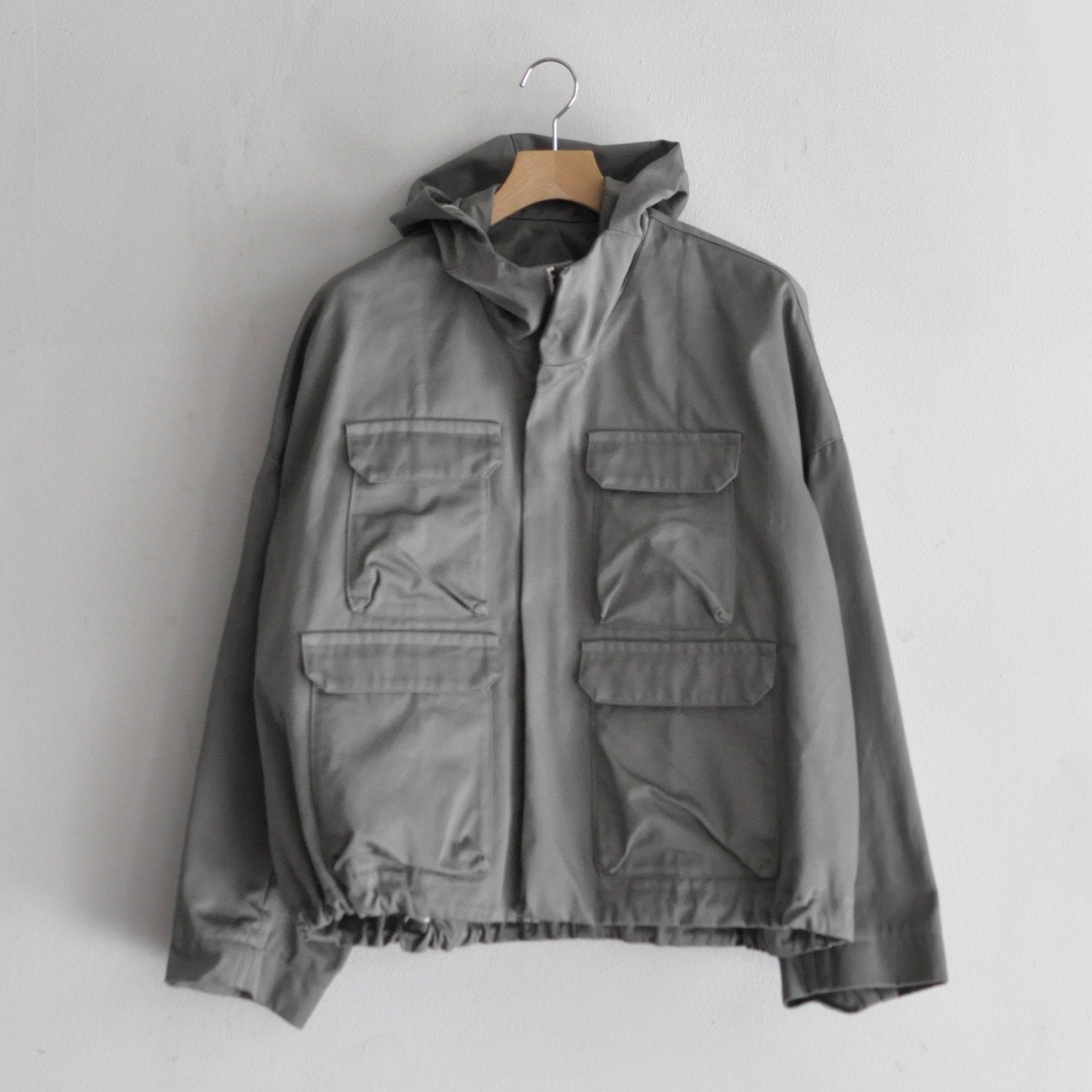 WEST-POINT TWILL FRONT POCKET HOODIE [GREY]