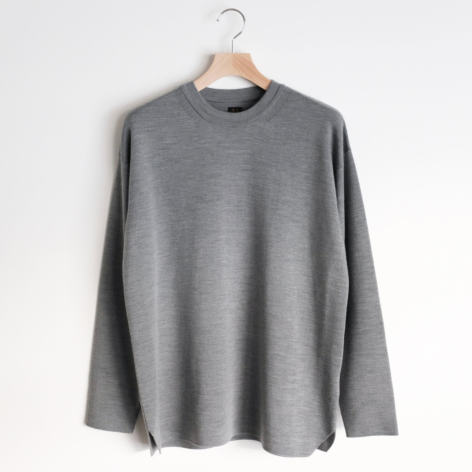 SUPER 120's WASHABLE WOOL SMOOTH CREW NECK [GRAY]