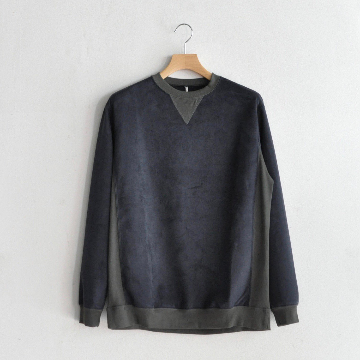 REVERSE WEAVE SWEAT SHIRTS [NAVY FAKE SUEDE]