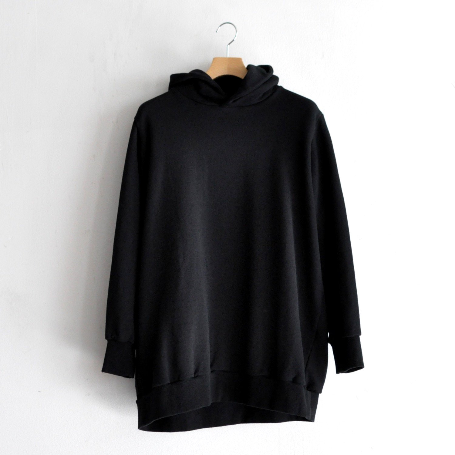 FRENCH TERRY BACK BRUSH HOODIE [BLACK]