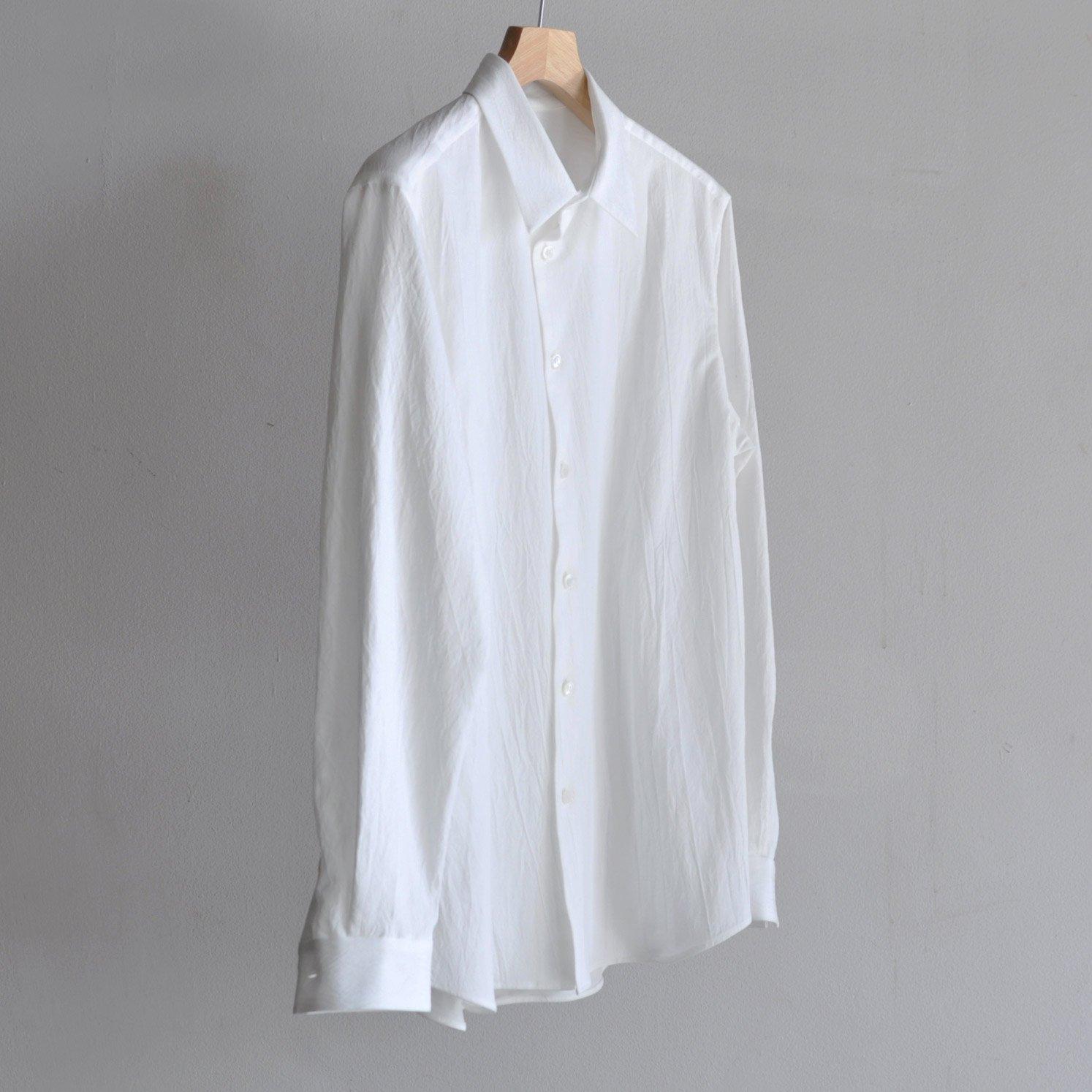 有松塩縮加工リネンシャツ・羽衿付き  [WHITE]
