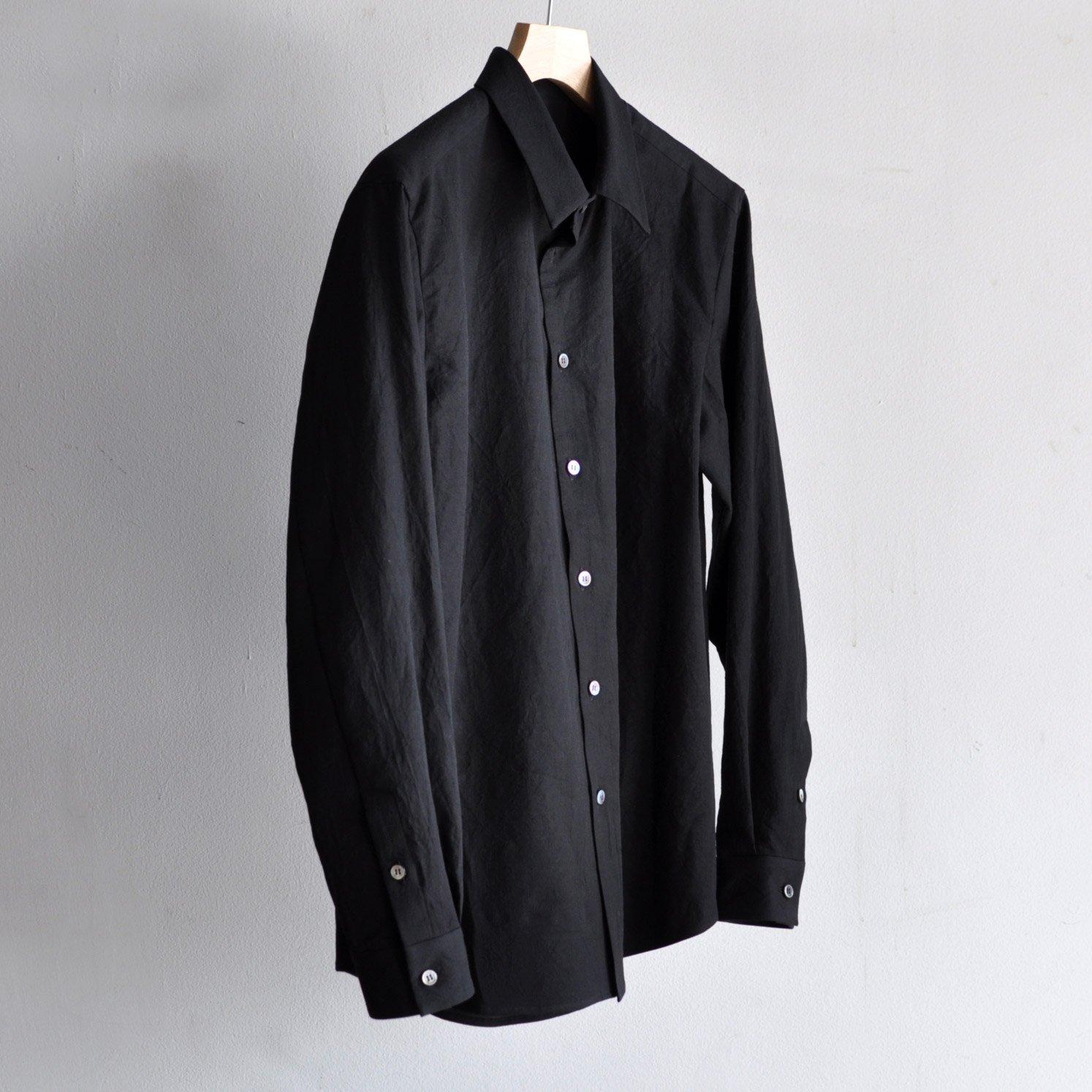 有松塩縮加工リネンシャツ・羽衿付き  [BLACK]