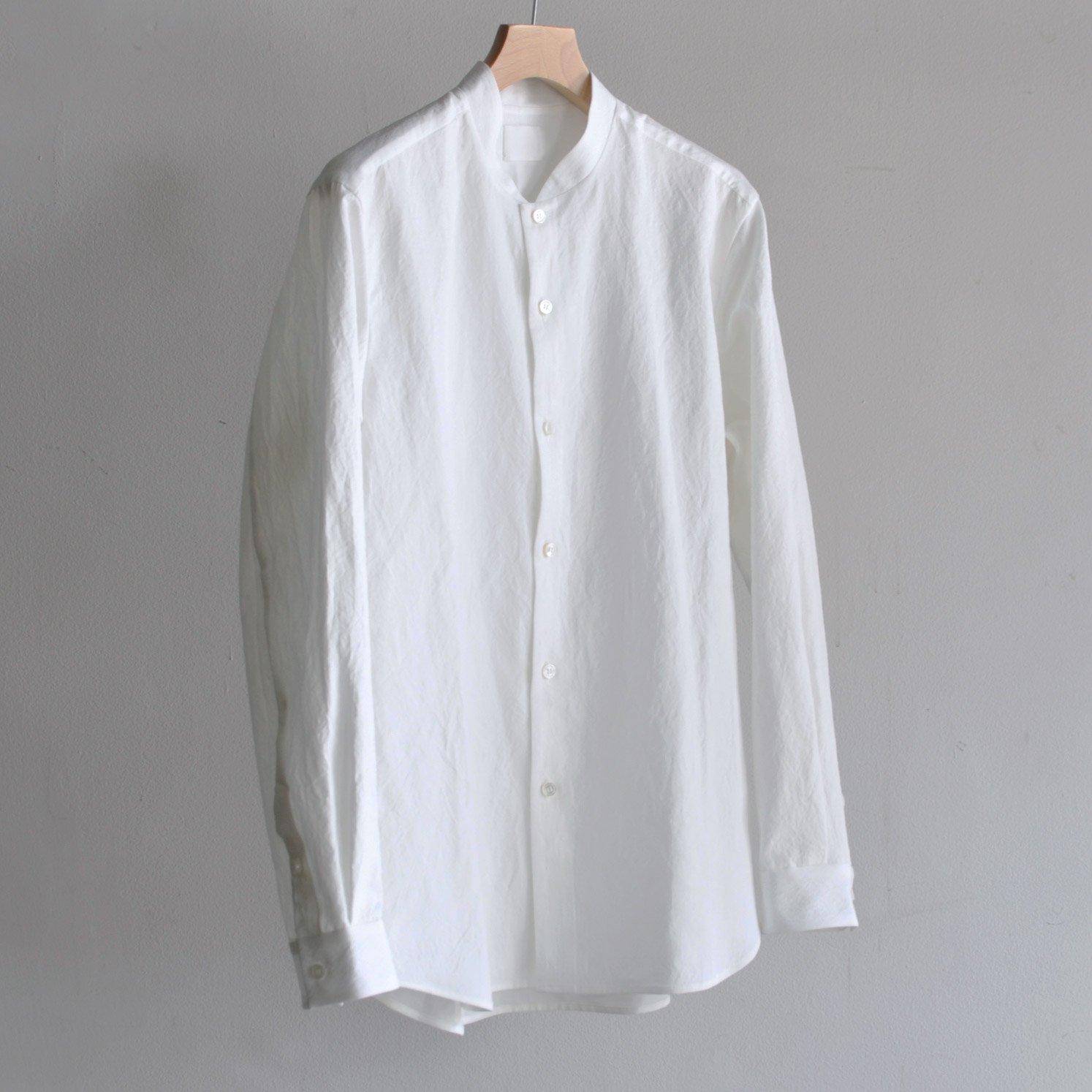 有松塩縮加工リネンシャツ・羽衿無し  [WHITE]
