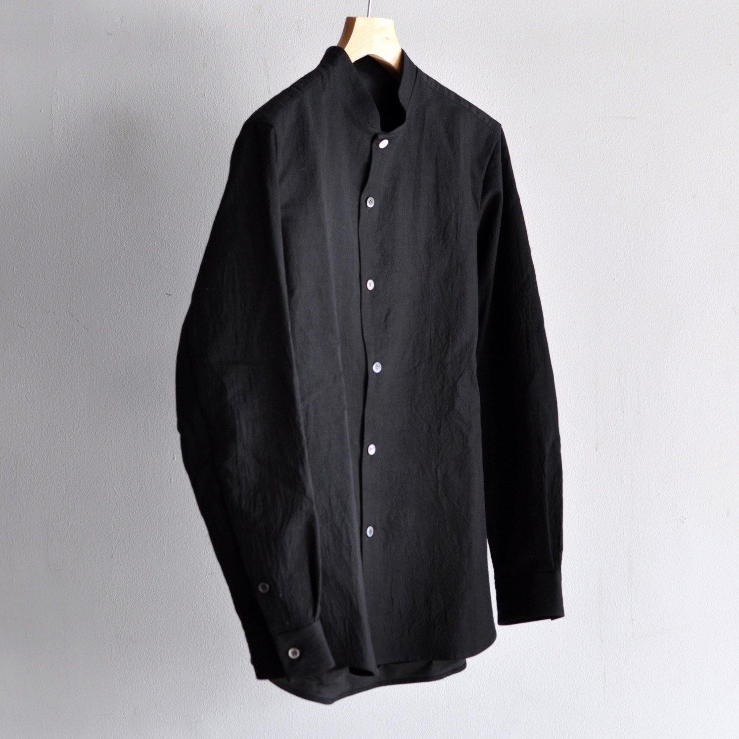 有松塩縮加工リネンシャツ・羽衿無し  [BLACK]