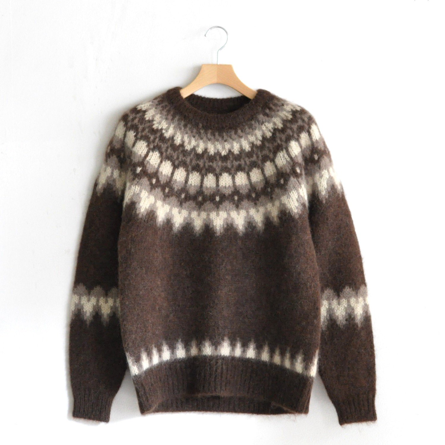 MOHAIR NORDIC CREW NECK [BROWN]