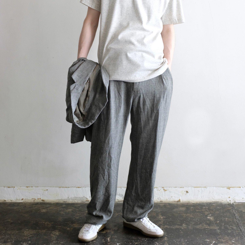 PE TWEED TUCK SARROUEL PANTS [GREGE]