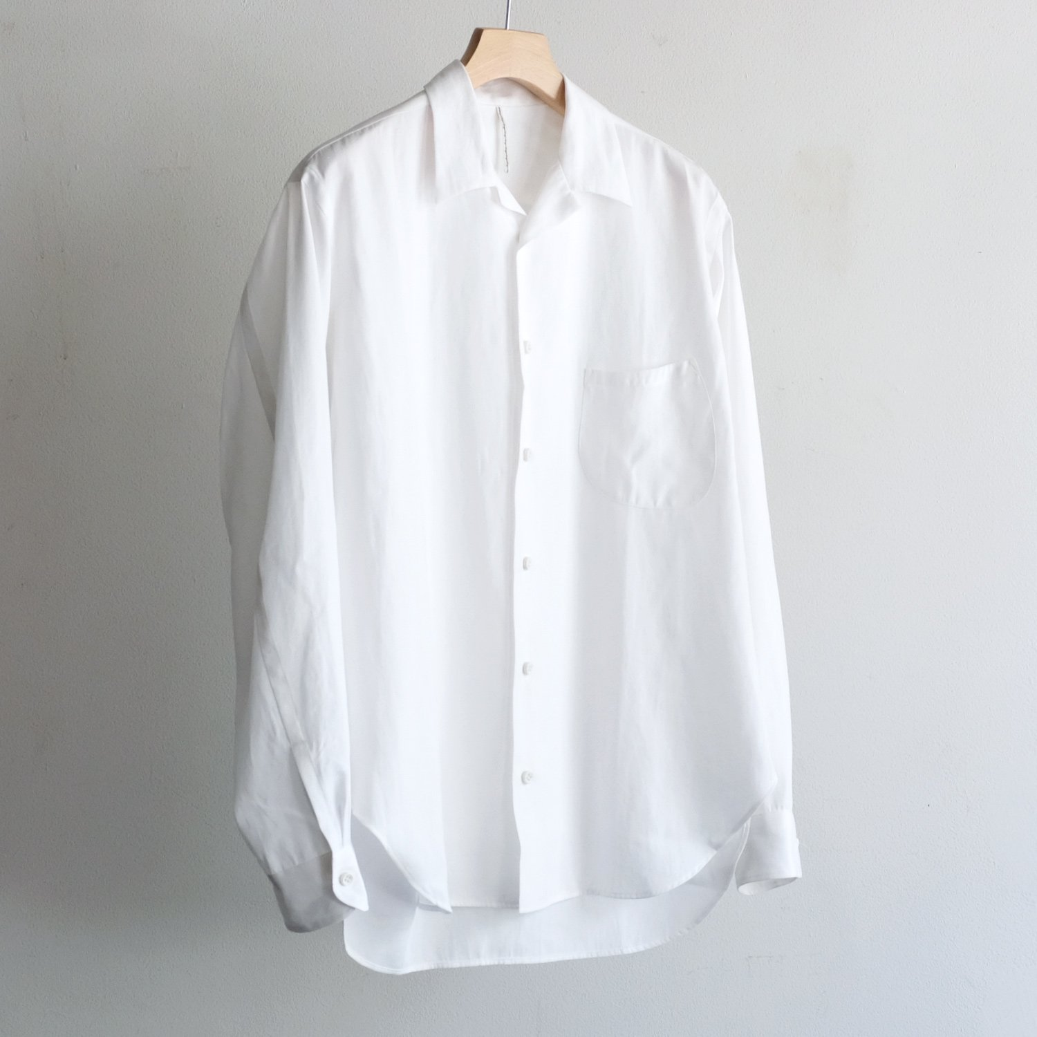 OPEN COLLAR L/S SHIRTS [OFF WHITE]