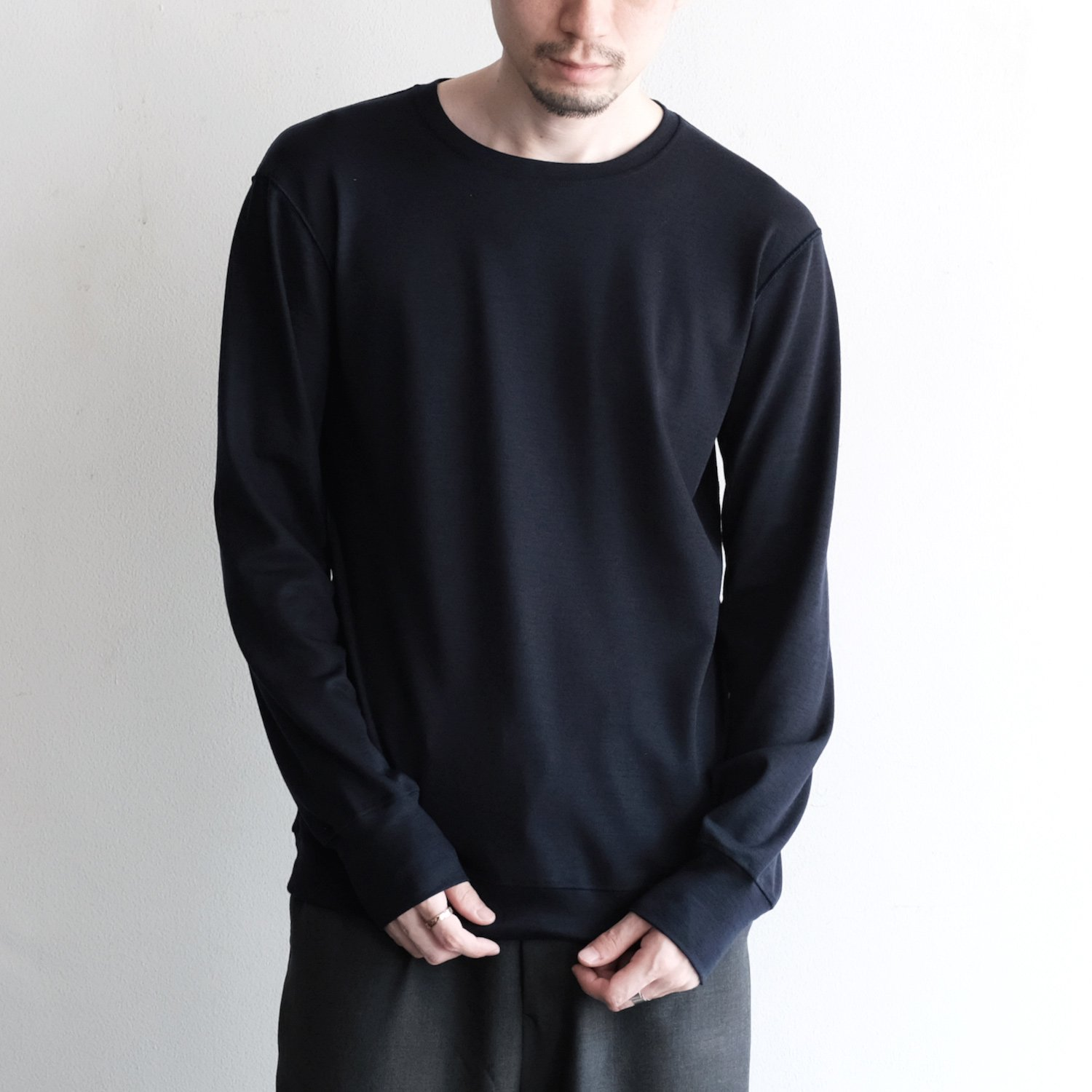 WASHABLE WOOL L/S T [NAVY]