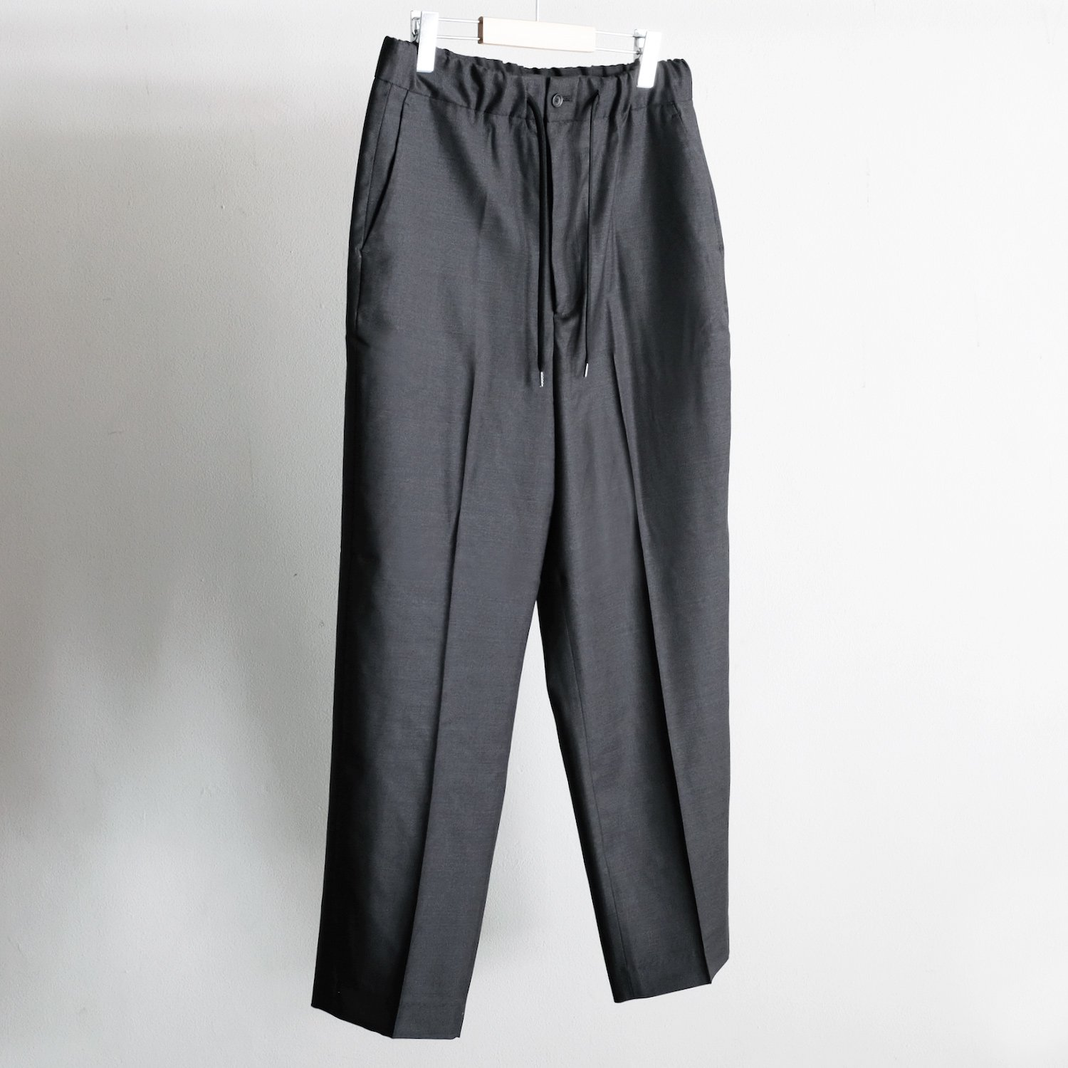 WOOL WIDE STRAIGHT EASY TROUSERS [C.GRAY]