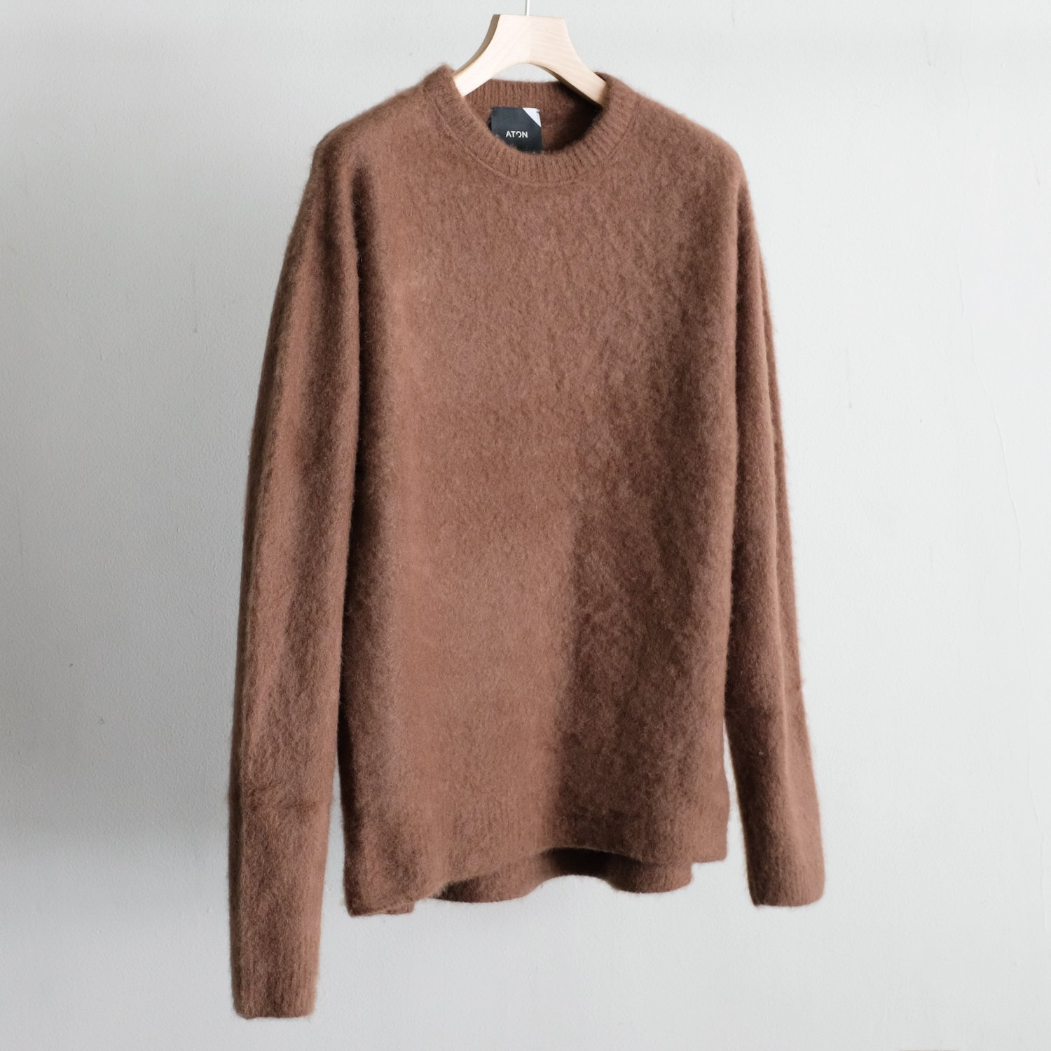 FUR CASHMERE CREWNECK SWEATER [BROWN]