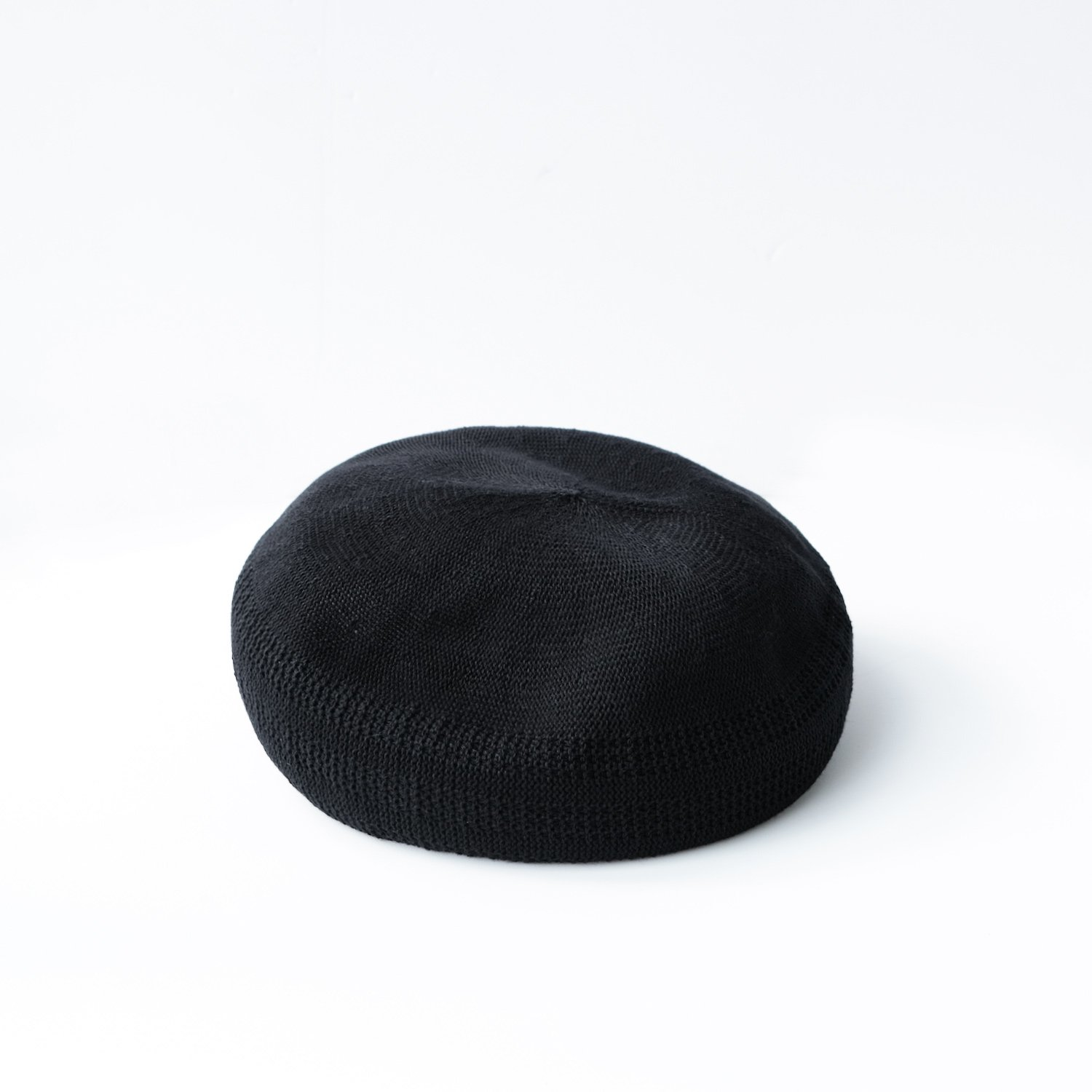 COTTON & CASHMERE MESH BERET [BLACK]