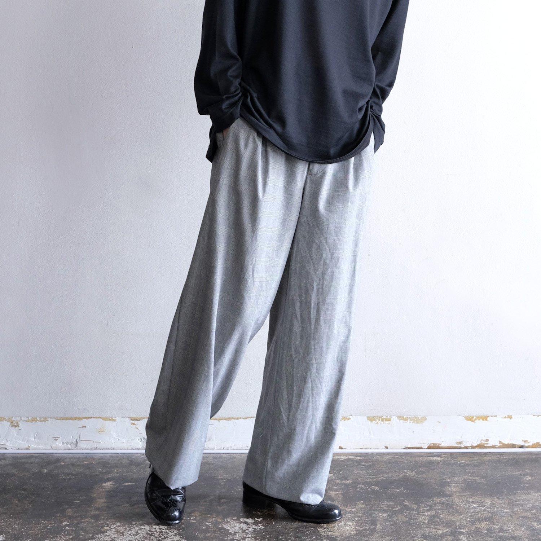 GLEN CHECK TUCK WIDE PANTS [BLACK/WHITE CHECK]