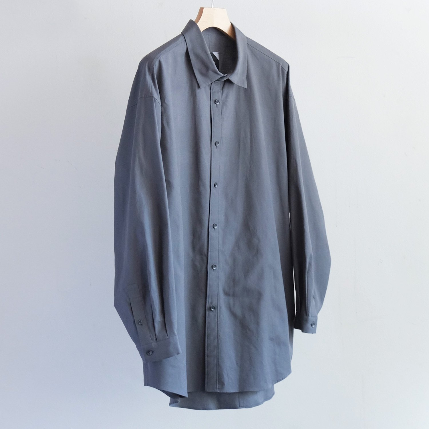COTTON CASHMERE OXFORD OVERSIZED LONG SHIRT [CHARCOAL GRAY]