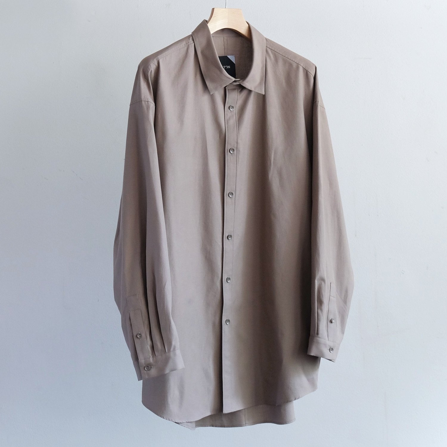 COTTON CASHMERE OXFORD OVERSIZED LONG SHIRT [BROWN]