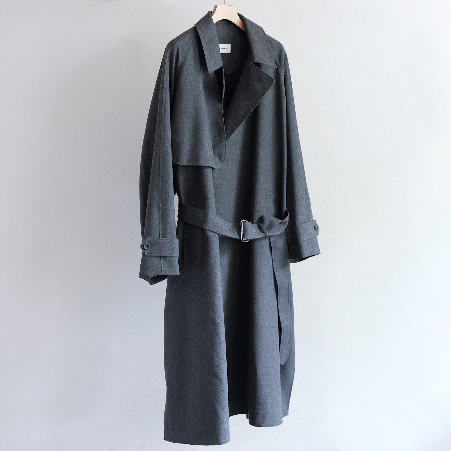 MILLED FLANNEL TRENCH COAT [TOP GRAY]