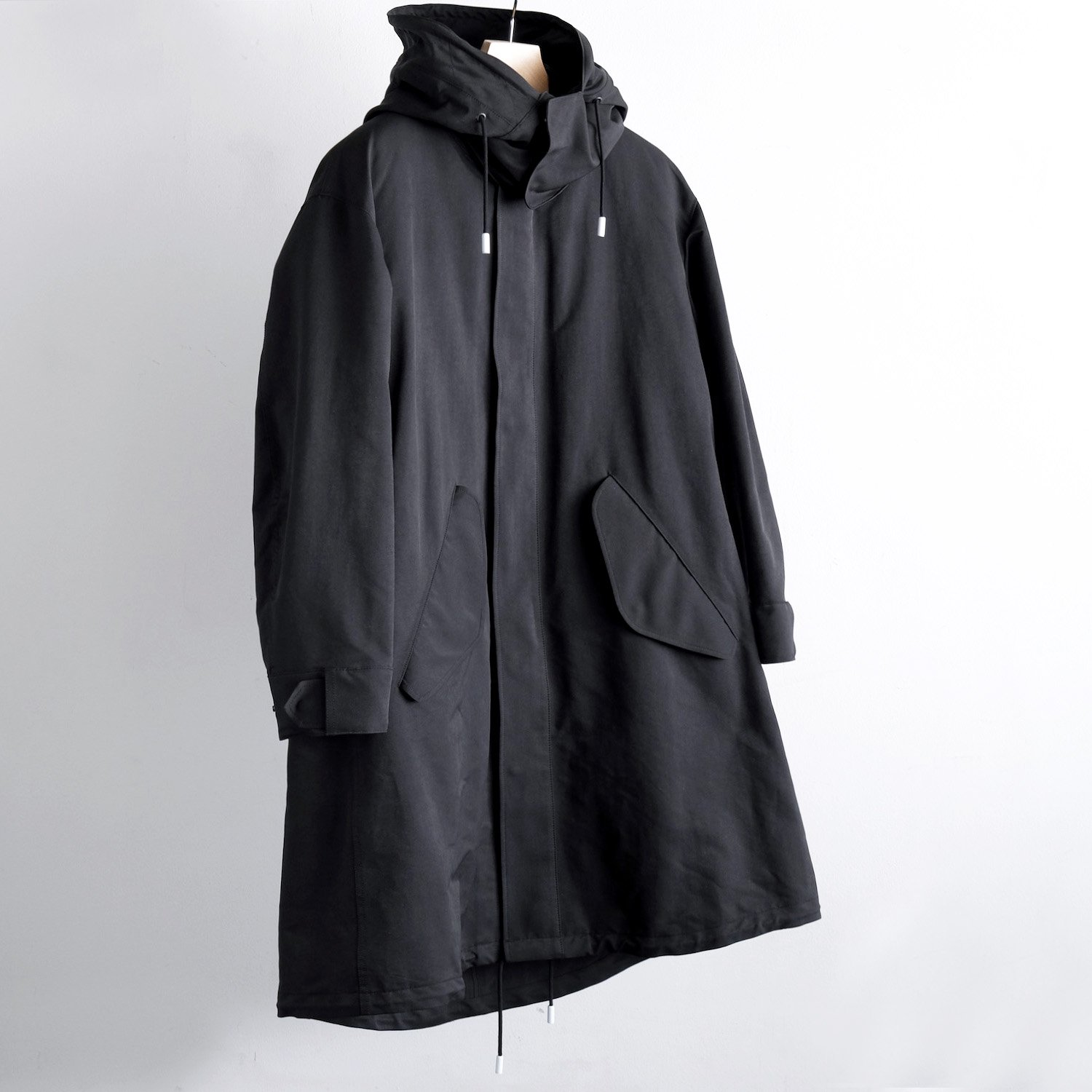 PE/NY HIGH DENSITY PEACH LONG MODS COAT with LINER [BLACK]