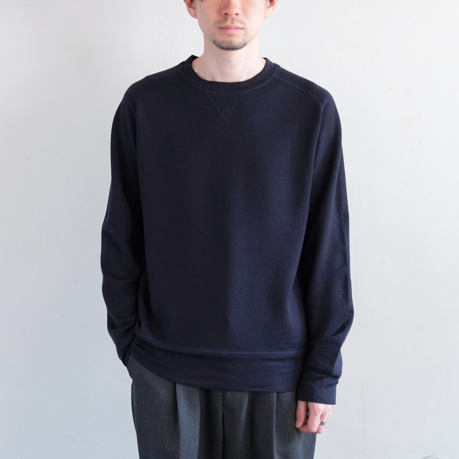 WASHABLE WOOL BOXING SWEAT [NAVY]