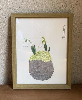 「スノードロップ+グレー丸鉢 (ダイモンナオ)」