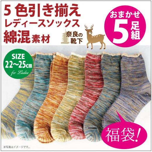 【エコソックス】5色引き揃えソックス 【5足組】22-25�