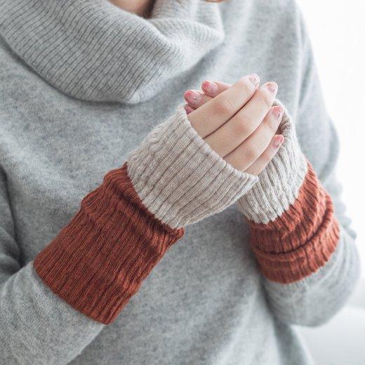 シルクとメリノウールの手首2重ウォーマー