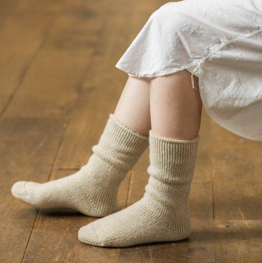 厚手で起毛ウールのゆるっと靴下