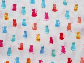 カラフルなレインボーカラーのネコ柄プリント生地◇USAコットン
