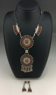 Zuni Daniel Etsate Coral Needlepoint Necklace Earring Set