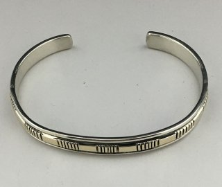 Navajo Bruce Morgan 14K Silver Hand Stamped Cuff Bracelet