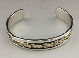 Navajo Bruce Morgan 14K Silver Hand Stamped Cuff Bracelet