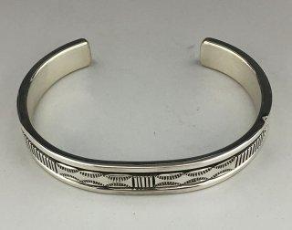 Navajo Bruce Morgan Silver Hand Stamped Cuff Bracelet
