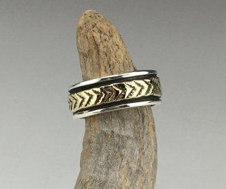 Navajo Bruce Morgan 14K Silver Hand Stamped Ring