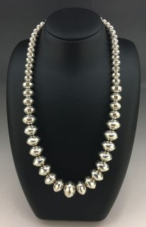 Navajo Tashina Long Hand Stamped Graduated Silver Beads Necklace