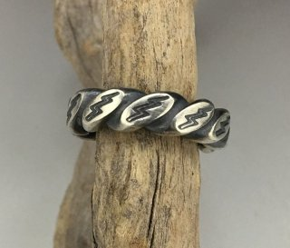 Navajo Sunshine Reeves Lightning Stumped Silver Rope Ring