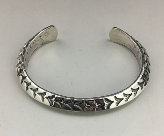 Navajo Sunshine Reeves Hand Stamped Triangle Silver Cuff Bracelet