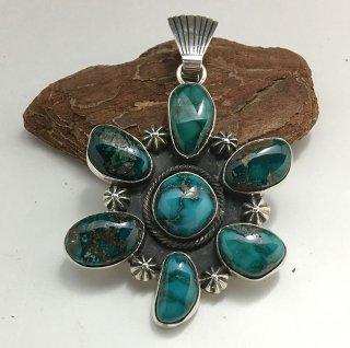 Navajo Leonard Nez Natural Blue Star Turquoise Cluster Pendant