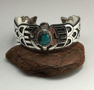 Hopi Darrin Kuwanhongva Bisbee Turquoise Overlay Cuff Bracelet