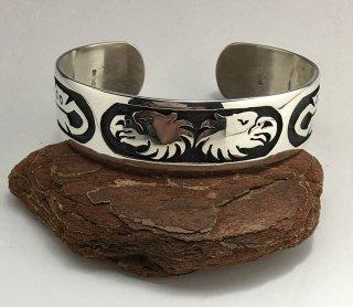 Hopi Braian Kagenvema Overlay Cuff Bracelet