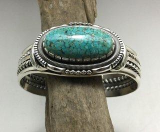 Navajo Wilbert Vandever Natural #8 Turquoise Cuff Bracelet