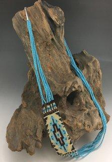 Navajo Michelle Yazzie Beaded Rug Necklace Earrings Set