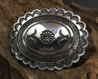 Navajo Suzie James Silver Hand Stamped Concho Belt Buckle