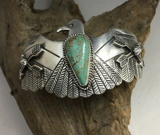 Navajo Russell Sam Number Eight Turquoise Thunderbird Cuff Bracelet
