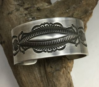 Navajo Edison Sandy Smith Ingot Silver Stamp Work Cuff Bracelet