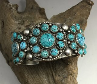 Navajo Calvin Martinez Smith Turquoise Cluster Cuff Bracelet