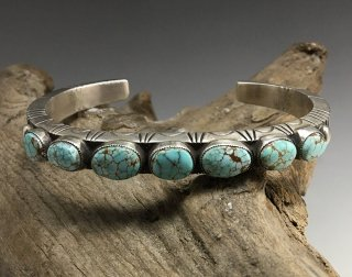 Navajo Calvin Martinez Number Eight Turquoise Cuff Bracelet