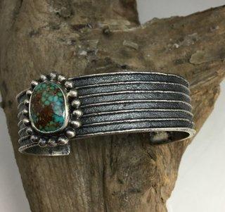 Hopi Antone Honanie Turquoise Mountain Turquoise Tufa Cast Cuff Bracelet