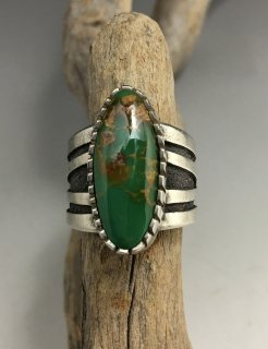 Navajo Tommy Jackson Natural Royston Turquoise Overlay Ring