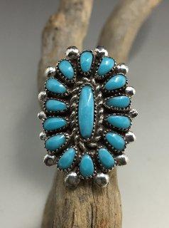 Zuni Lorraine Waatsa Sleeping Beauty Turquoise Cluster Ring