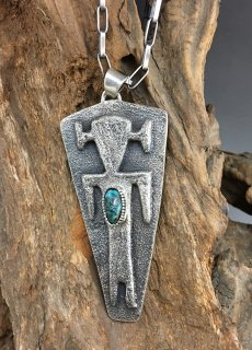 Hopi Antone Honanie Indian Mountain Turquoise Tufa Cast Pendant