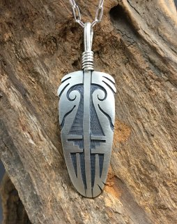 Hopi Trini Lucas Overlay Feather Pendant